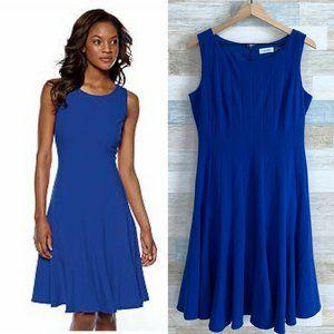 Calvin Klein Fit & Flare Midi Dress Blue